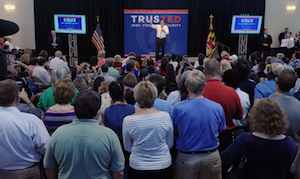Republican presidential candidate Ted Cruz speaks on April 18, the day before the New York Primary.