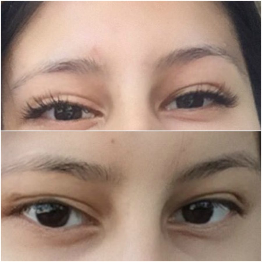 The before and after of my lash extensions.