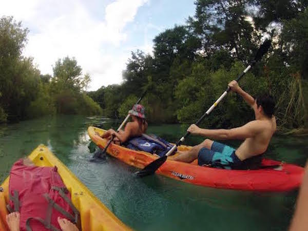 Here is student Lindsay Boos with some friends canoeing down Weeki Wachee river.