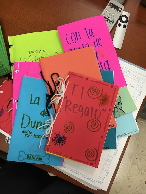 The girls made their books extra colorful for the children of DR!