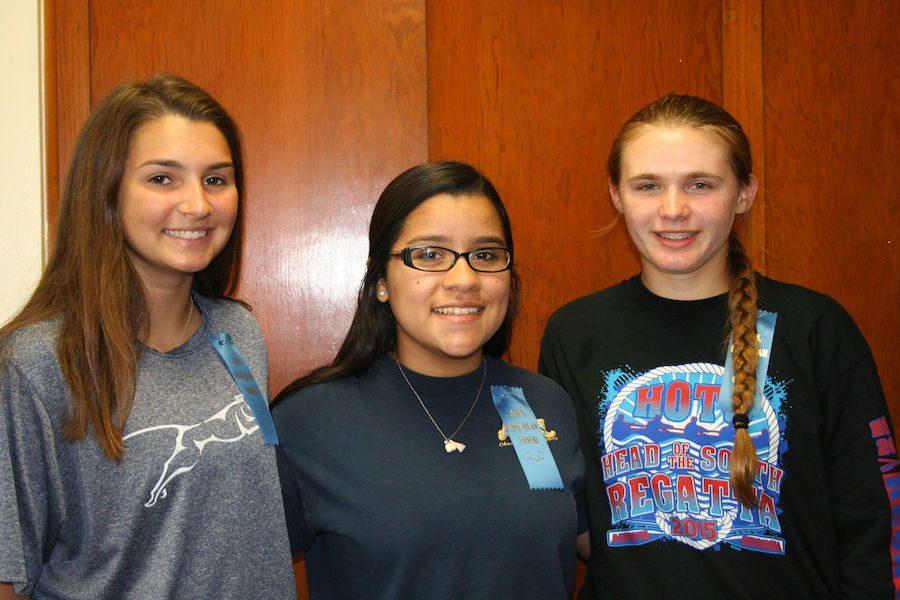(From left to right) Hannah Smallwood, Maria Almendares, Sydney Lowman.