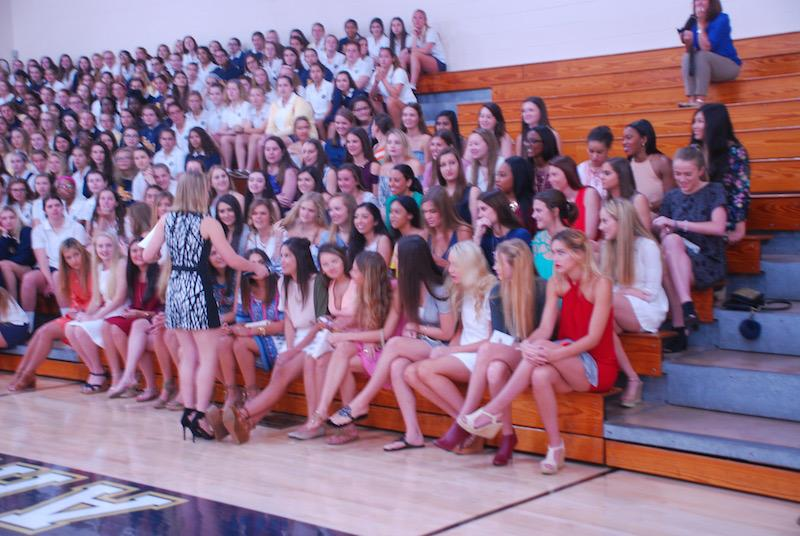 Senior Christina Thompson stands before her class after giving her speech.