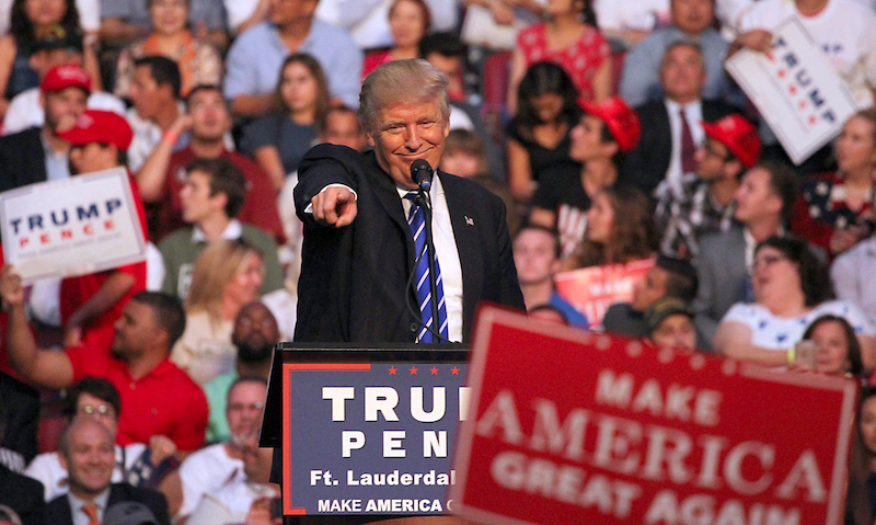 Republican presidential candidate Donald Trump holds a campaign rally Aug. 10, 2016 in Sunrise, Fla.