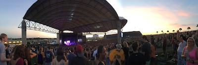 Fans fill up the MidFlorida Credit Union Amphitheater during the golden hour for the Panic! at the Disco concert.