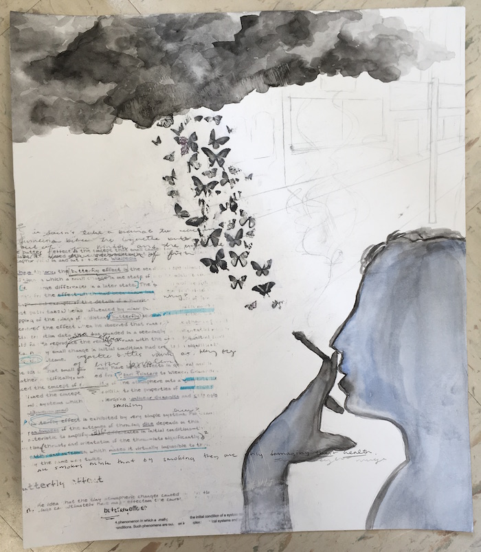 Cartaya applied her issue of smoking to the Butterfly Effect, which is the concept that a small cause can create large effects, and incorporated it into her piece.