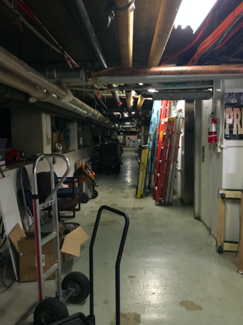 During Trunk or Treat, this narrow hallway is transformed into a haunted house.