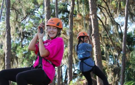 Zip lining from the ropes was a rewarding feeling after the stress of walking on the tightropes. Photo Credit: Haley Palumbo (used with permission)