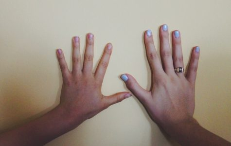 Senior Victoria Baldor's hands look minuscule compared to Senior volleyball player Lexi Diez's.