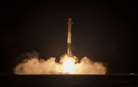 The Falcon 9 rocket first-stage landing.