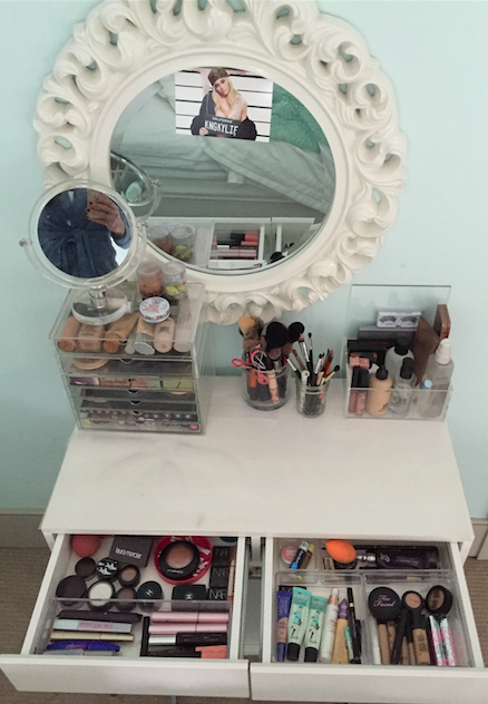 In order to keep Academy girls makeup obsession organized, vanities and containers are important to store the abundance of makeup they own.