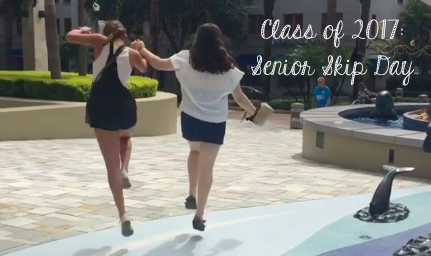Seniors Liz Benjamin and Keri Kelly skipped around downtown St. Pete on senior skip day. Photo credit: Liz Benjamin (used with permission)