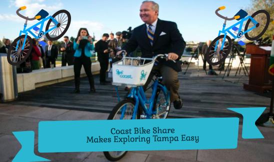 Mayor Bob Buckhorn rides a Coast bike at Curtis Hixon Park. Photo Credit: Richard Danielson/Tampa Bay Times - Edited by Sara Phillips