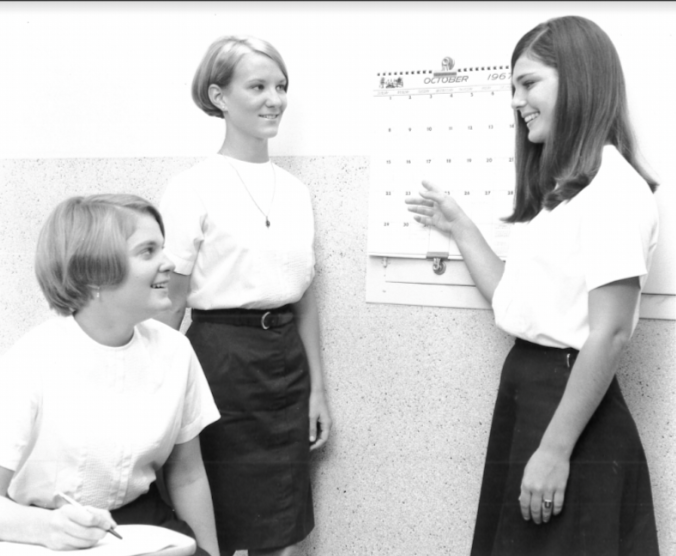 In the 70s the uniform could be worn with a belt and a long skirt