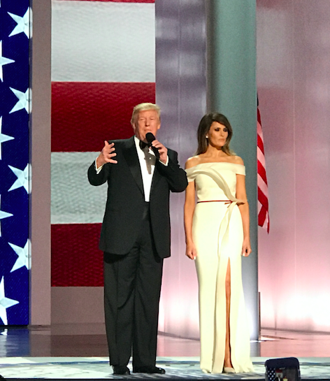 President Trump speaks alongside First Lady Melania before their first dance as President and First lady