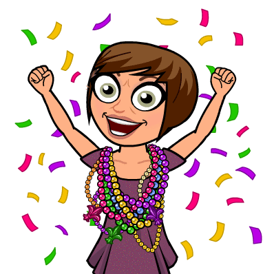 Credit: Megan Dubee/ Bitmoji (used with permission) Just like her Bitmoji, Dubee is ready for Mardi Gras!