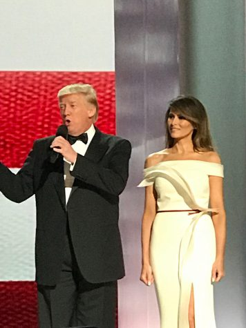 President Donald Trump and First Lady Melania at their inauguration dinner.