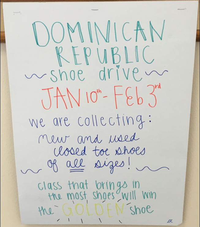 As+mini+course+week+approaches%2C+the+Dominican+Republic+missionaries+prepare+for+their+trip+by+collecting+shoes.+Photo+Credit%3A+Samantha+Cano