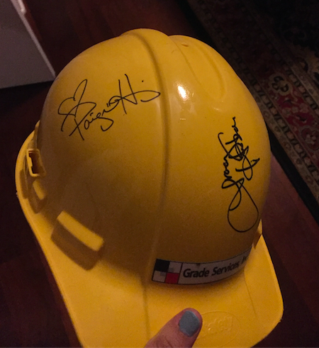 Senior Vanessa Alvarez was given a hardhat during her father's work on Extreme Home Makeover where she received a couple autographs from the cast. Photo Credits: Vanessa Alvarez/AchonaOnline
