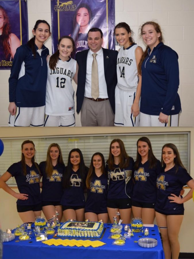 Four+seniors+from+the+basketball+team+and+seven+seniors+from+the+dance+team+were+celebrated+during+senior+night.+