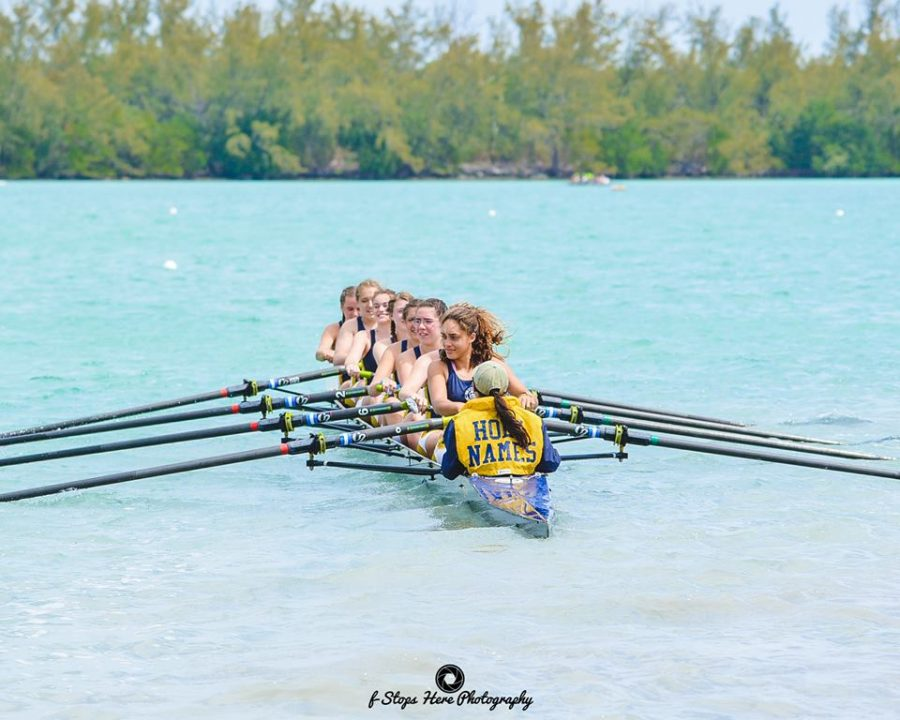 The most recent race AHNRC participated in, The Miami International Regatta, had no docks from which to launch boats. Rowers and coxswains had to walk directly in the water with their boat.  Credit: Ros Moffett (used with permission)