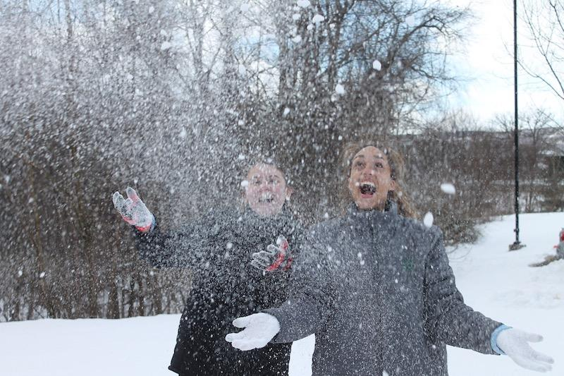 Senior and Leader Keri Kelly saw snow for the first time on the 2015 Scranton mission trip.