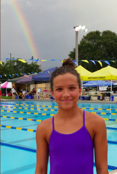 The rainbow above Cailins head became a symbol of God watching over her to many of her friends and family. Photo Credit: Academy Aquatic Club/Used With Permission
