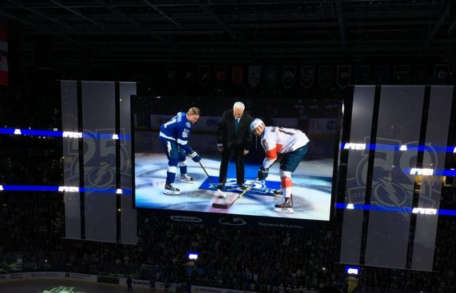 Lightning Team Captain Steven Stamkos participates in the annual puck drop with the Florida Panthers Team Captain.
