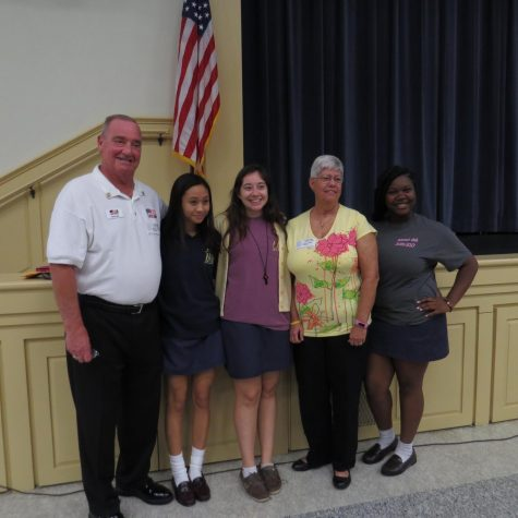 Seniors Gillian Garcia, Haley Palumbo, and Lyric Vickers thanked the two veterans for their service following the convocation. Photo Credit: Mia Lopez/ Achona Online
