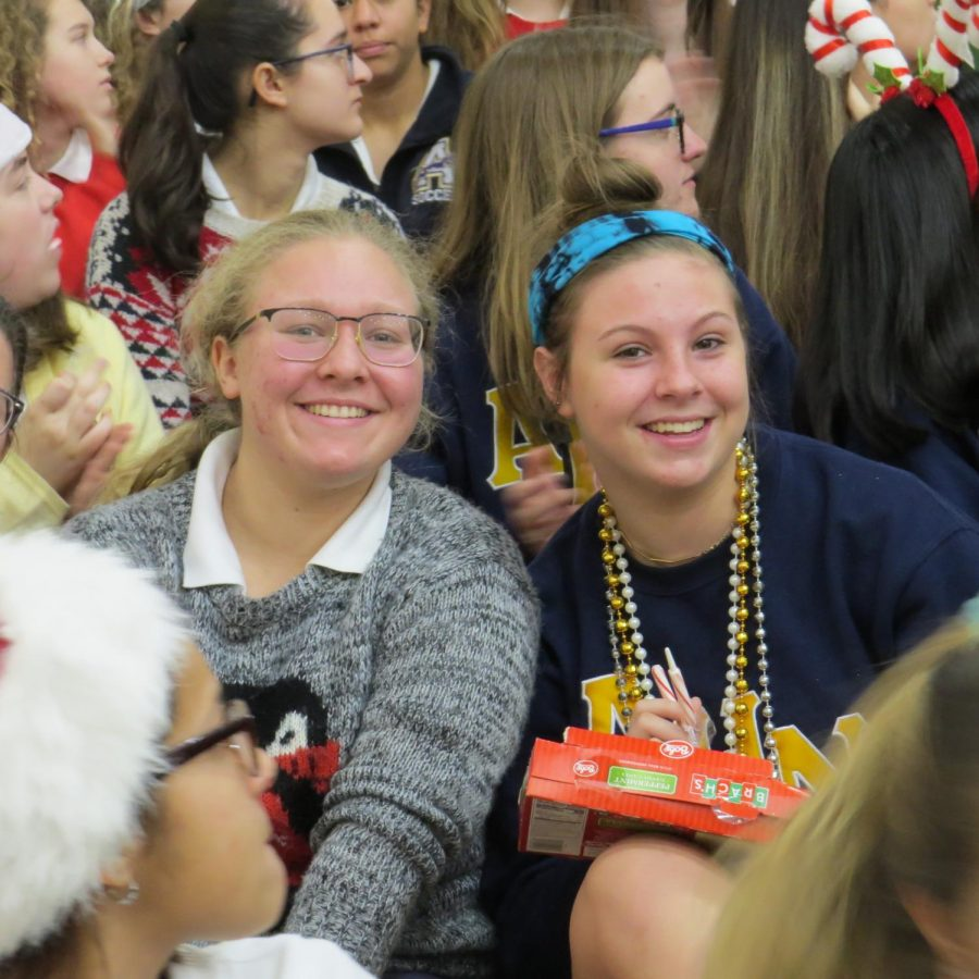Students wore their ugly christmas sweaters on Monday for the convocation.  Photo Credit: Sam Garateix/AchonaOnline