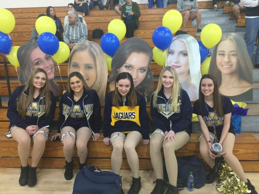 The Jaguarette seniors were surprised with fatheads of themselves when the entered the gym. (Photo Credit: Denise Cano/ used with permission)