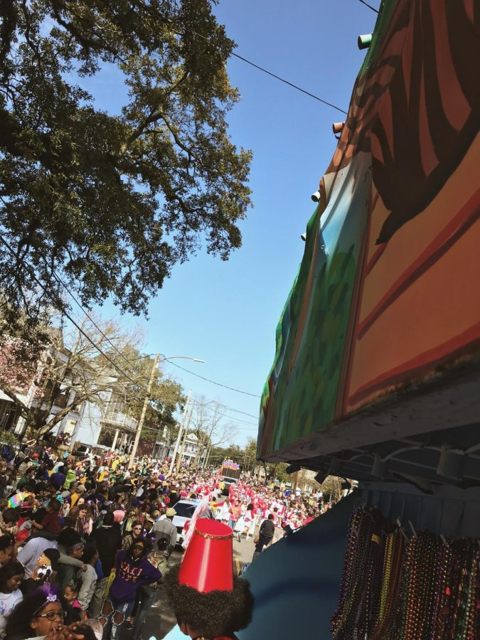 In Louisiana, it is illegal to ride on a parade float without a mask. Photo Credit: Callie Mellon/ Achona Online