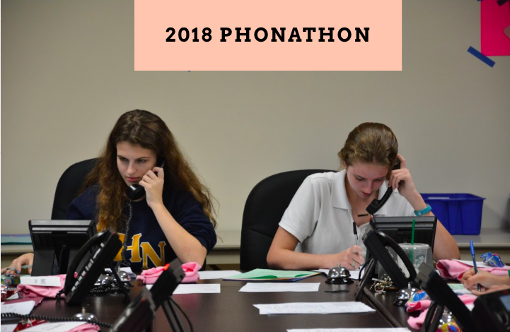 Taylor Scott ('19) and Rachel Porter ('19) use their call sheets to reach alumni. Photo Credit: Abby Rodriguez/Used With Permission