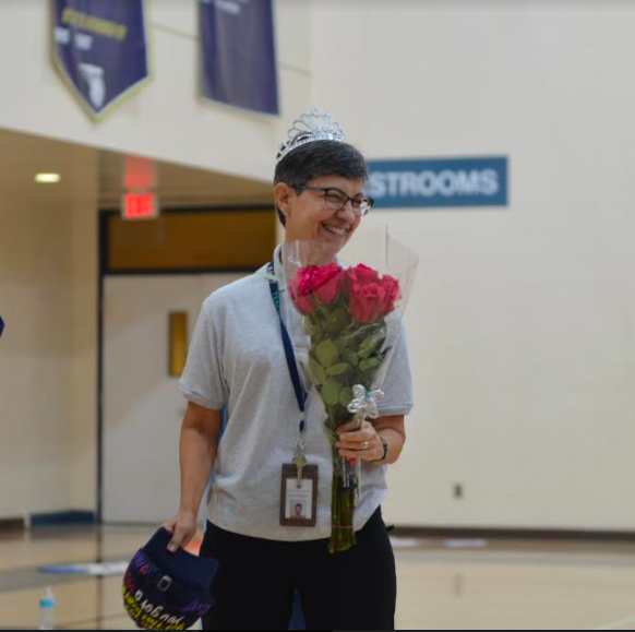 The Academy student body recognizes Rebecca Zambrano at the Jagball Assembly. Photo Credit: Emily Wise (used with permission)