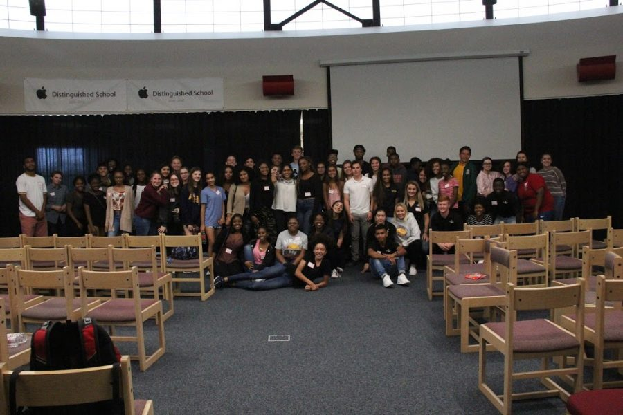 Academy as well as the other schools pictured in this photo were put together in groups to talk about race and ethnicity.