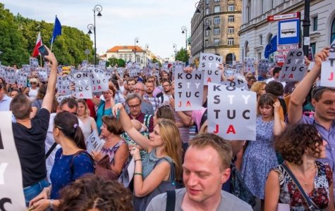 "Protesters are gathering in Warshaw to protest the ""Stop Pedophilia"" bill."