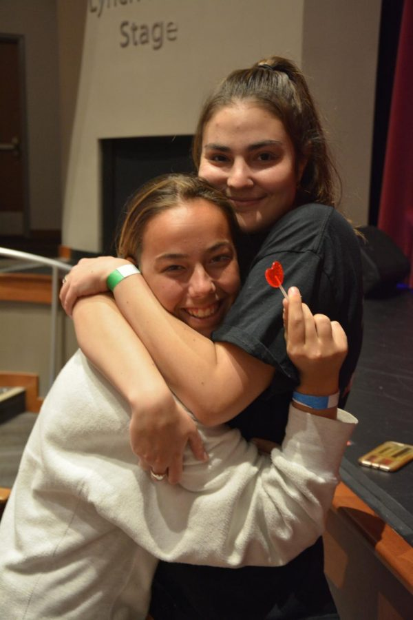 Seniors Maria Garcia Gil and Frannie Fererri came out to the talent show, both to support the performers and help work the ticket booth. Ferreri said,
