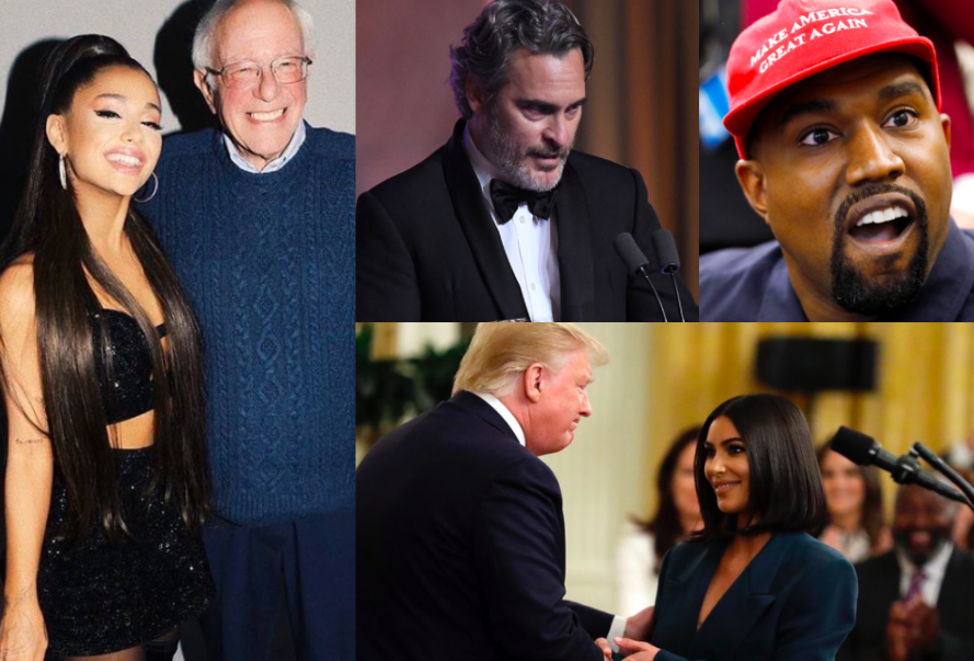 Celebrities such as Kim Kardashian, Kanye West, and Ariana Grande have been vocal about their support for certain political figures. Other celebrities, like Joaquin Phoenix, have used award shows to bring awareness to various topics.