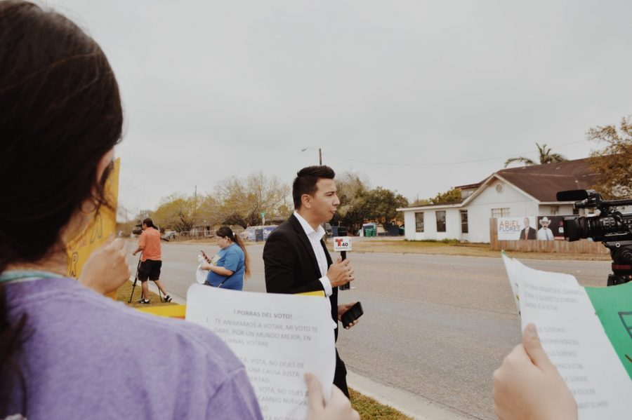 A host from Telemundo attended the rally to inform those of the Spanish-speaking community.
