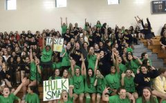 The Class of 2020 cheers at their sophomore year pep rally.