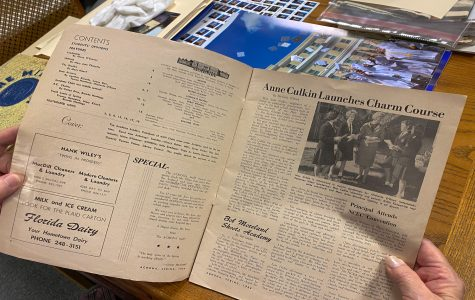 Sister Mariellen Blaser is the Academy's archivist, and her office contains Achona print editions that date back to 1941.