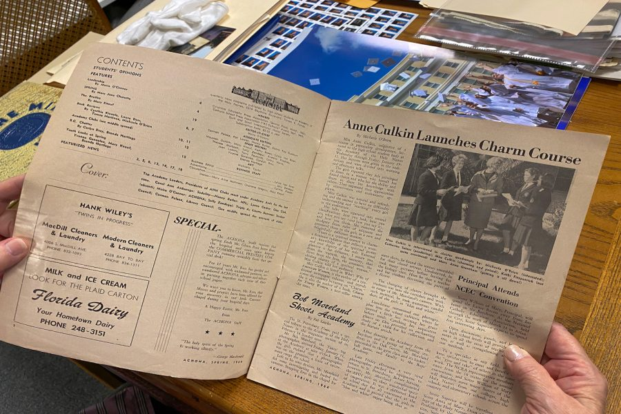 Sister Mariellen Blaser is the Academys archivist, and her office contains Achona print editions that date back to 1941.