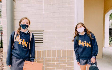 Freshmen socially distanced during their school day.