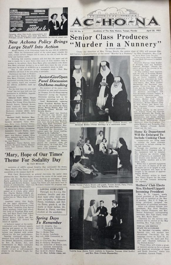 In the year 1953, Achona merged with the school yearbook staff — previously called Miramar — until 1971 when Echoes was established.