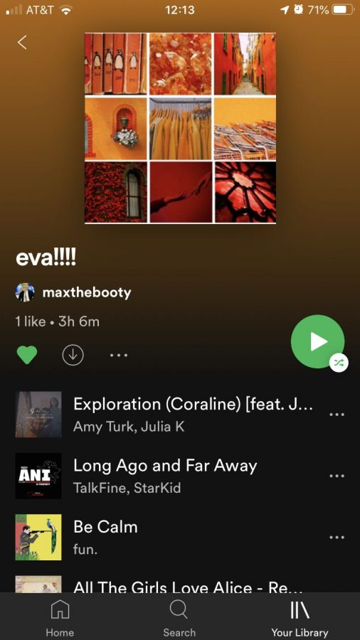 Eva Schillinger ('22) had a Spotify Playlist made for her by a friend.