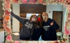 Lauren Brown ('23), Smith Cassidy ('23), and Lauren Donofrio ('23) smile for the camera.