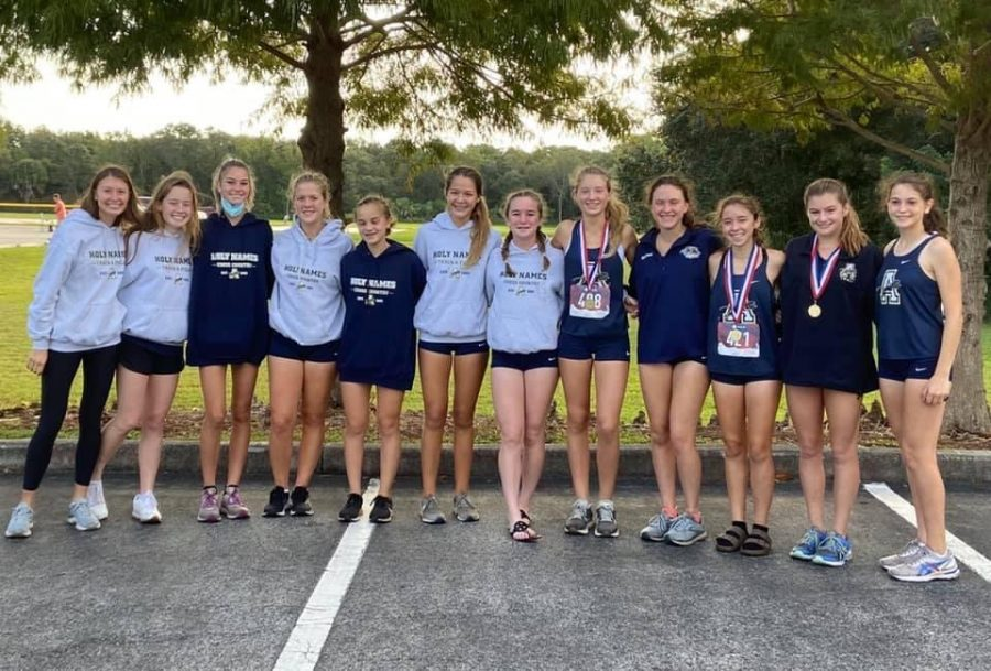 Seniors Maddie MacDiarmid and Maddie Rodriguez, pictured with their teammates, placed in the top ten.