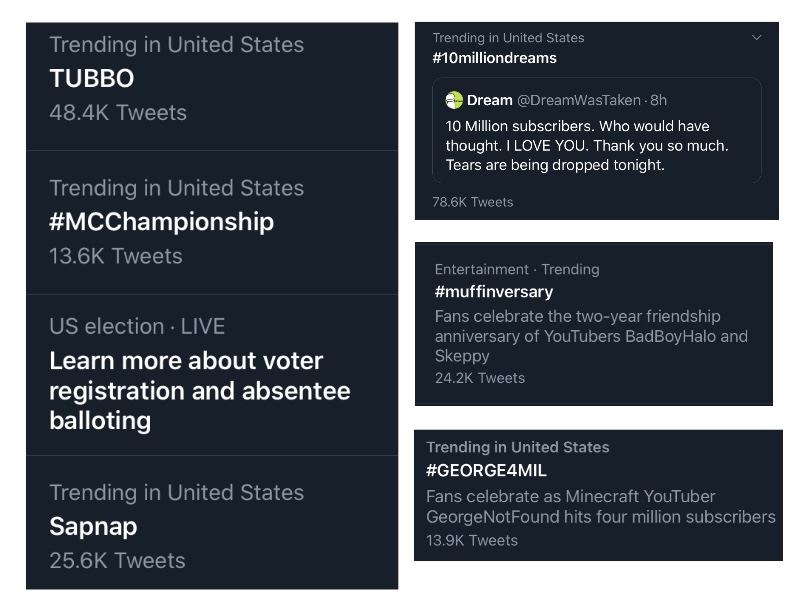 Example of some Minecraft-related hashtags found on Twitter's trending page during Sept. and Oct.