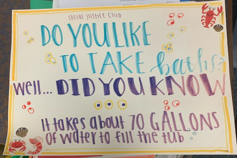 AHN's Social Justice Club is making posters to hang in the school, depicting different water-related statistics.