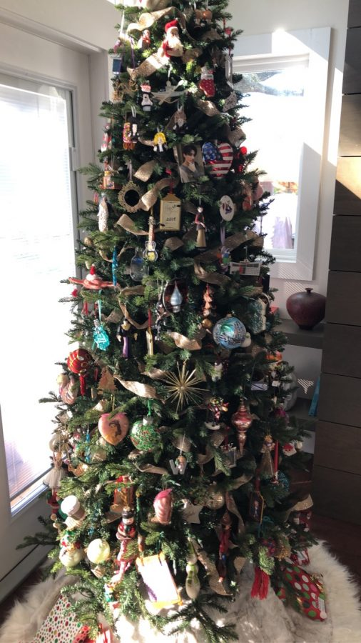 A tree decorated with a random assortment of ornaments.