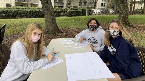 Sophomores Olivia Lucas, Sofia Miranda, and Amanda Moroney drew banners to be presented at Mass.